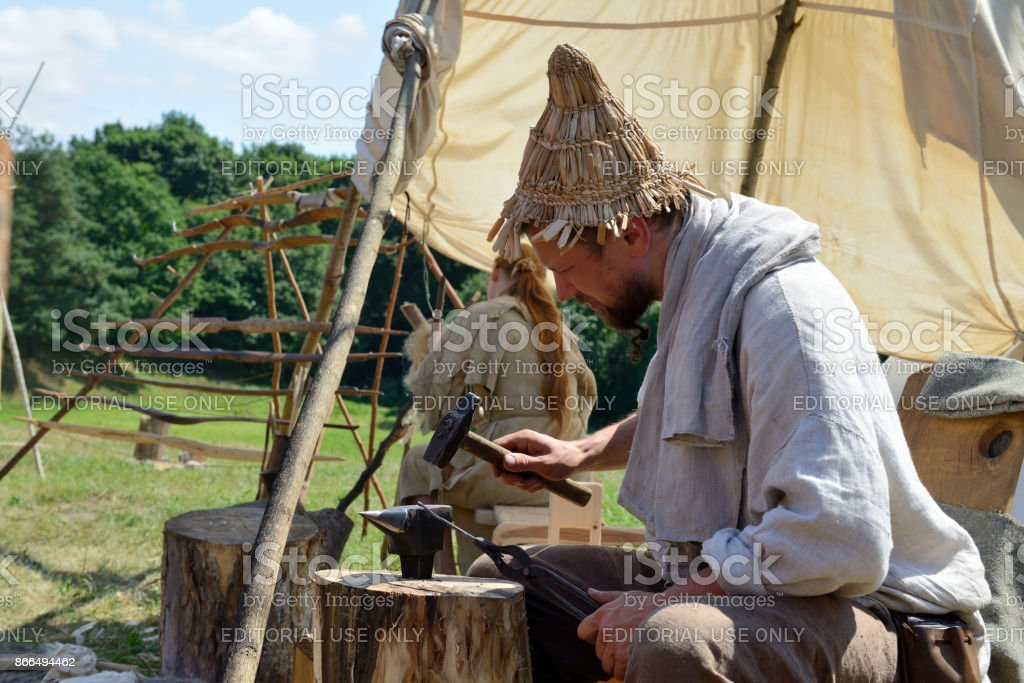 International Festival of Experimental Archaeology, Lithuania stock photo