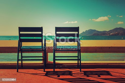Two blue chairs on the Croisette in Cannes