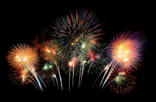 International Fireworks Festival Display At Night Variety Of Colorful Fireworks In Holidays Celebration Isolated On Black Happy New Year Background Stock Photo - Download Image Now