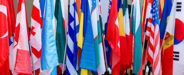 International flags in a row. stock photo