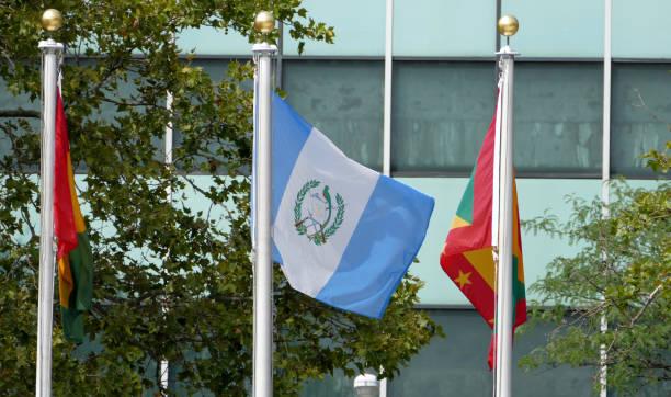 Internacional de banderas en el frente de la sede de las Naciones Unidas - foto de stock