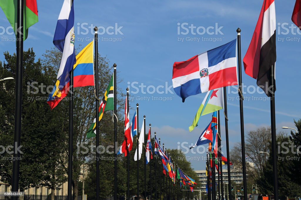 International flags in The Hague, Holland stock photo