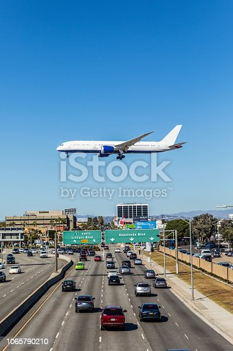 International flight landing in Los Angeles - LAX airport