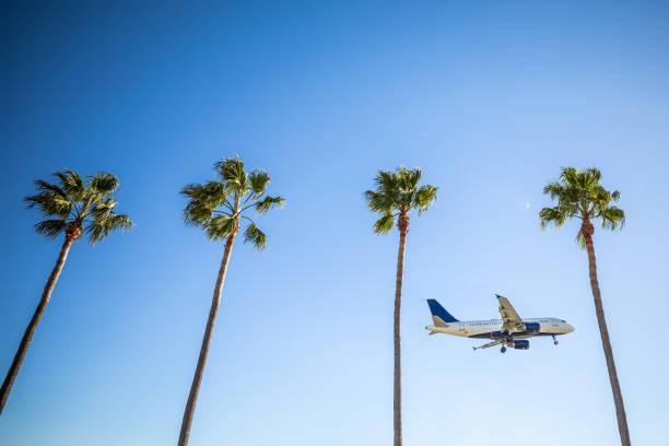 International flight landing in Los Angeles - LAX airport stock photo