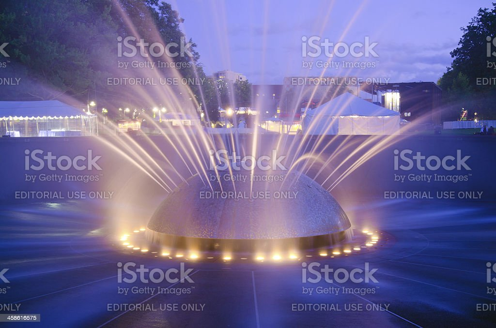 International Fountain at Seattle Center in Washington state stock photo