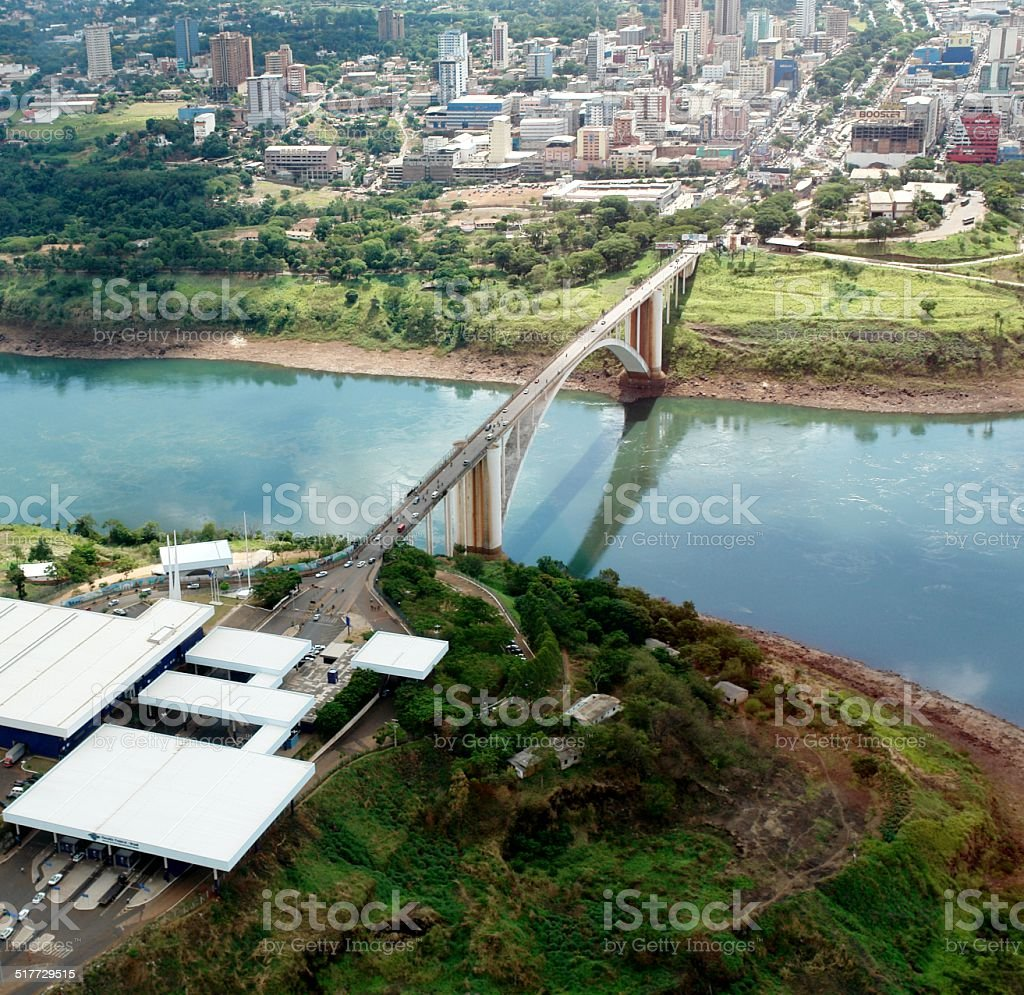 International Friendship Bridge between Brazil, Paraguay, Argentina stock photo