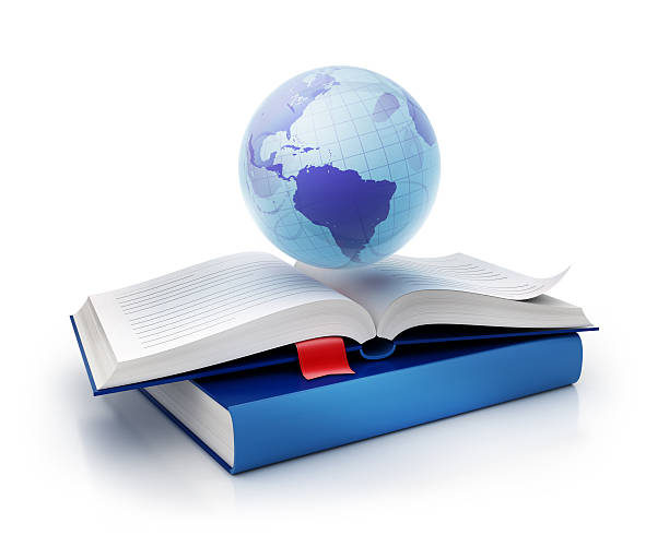 international globe and book icon stock photo