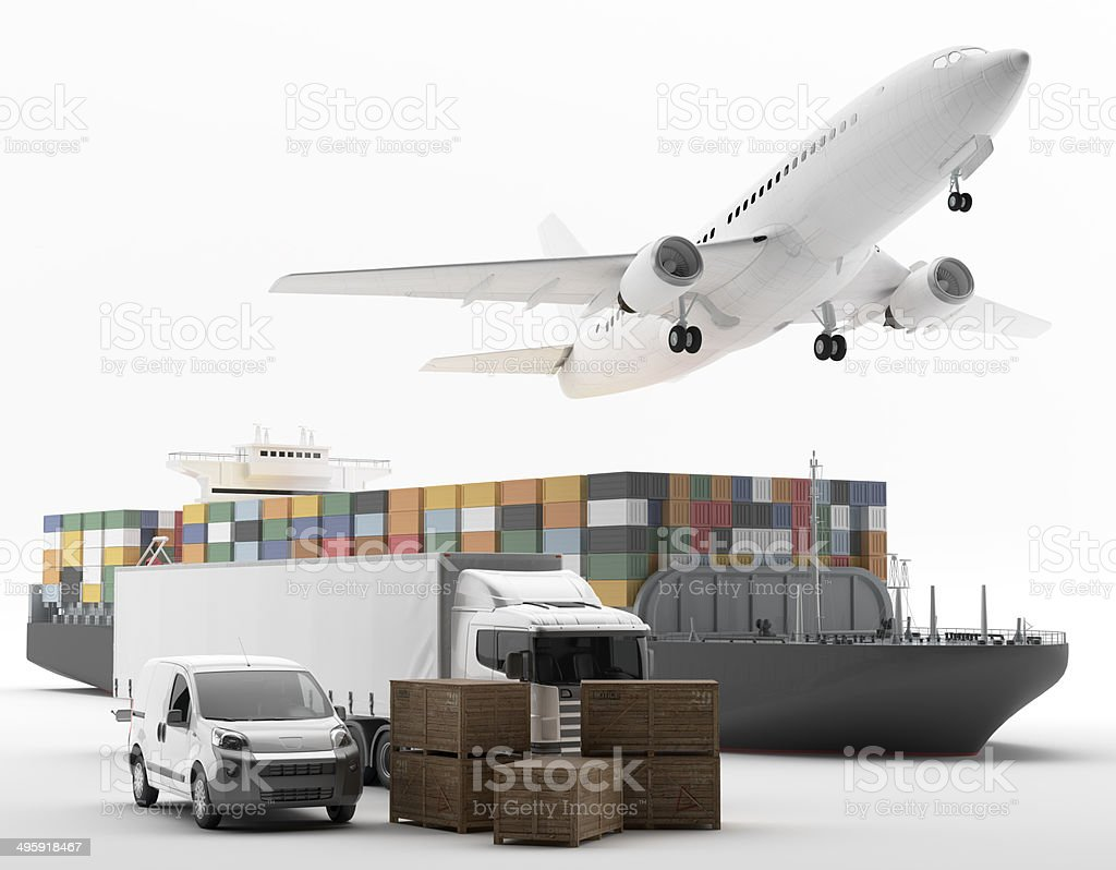 International goods transport stock photo