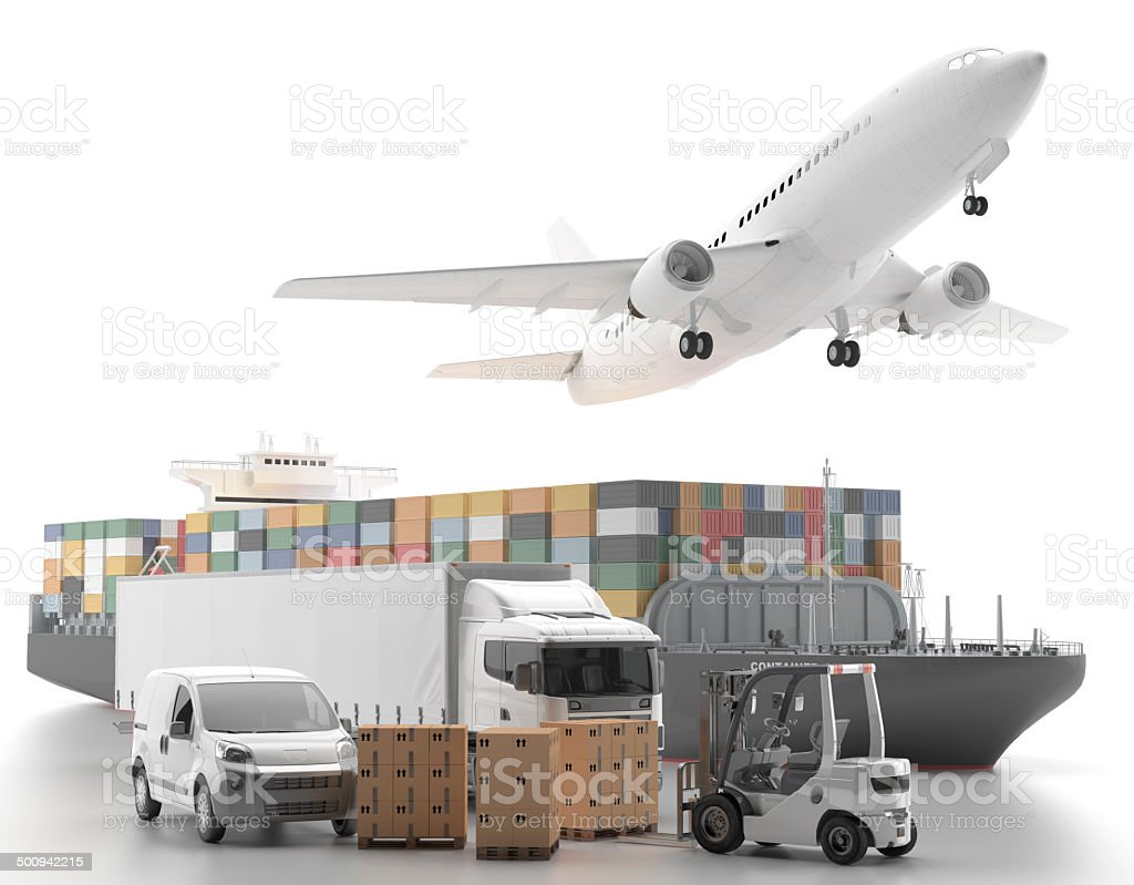 International goods transport stock photo