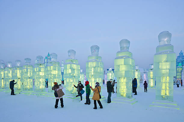 International Ice and Snow Sculpture Festival, Harbin, China Harbin, China - February 13, 2015: International Ice and Snow Sculpture Festival. During the event, 800,000 visitors descend on the city, with 90% from China, this is one of the country's top winter destinations. harbin stock pictures, royalty-free photos & images