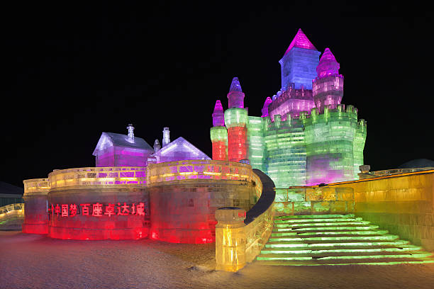 International Ice and Snow Sculpture Festival, Harbin, China Harbin, China - February 13, 2015:  The International Ice and Snow Sculpture Festival. During the event, 800,000 visitors descend on the city, with 90% from China, this is one of the country's top winter destinations. harbin stock pictures, royalty-free photos & images