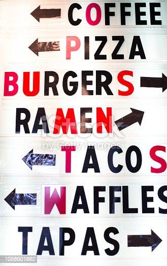 International menu on rustic white board: coffee, pizza, burgers, ramen, tacos, waffles, tapas.