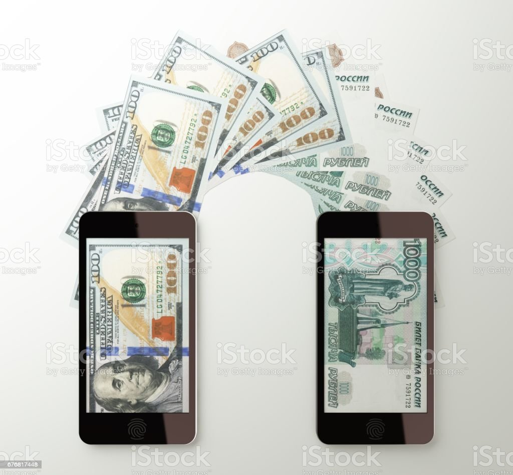 International mobile money transfer, Dollar to Russian rubles stock photo