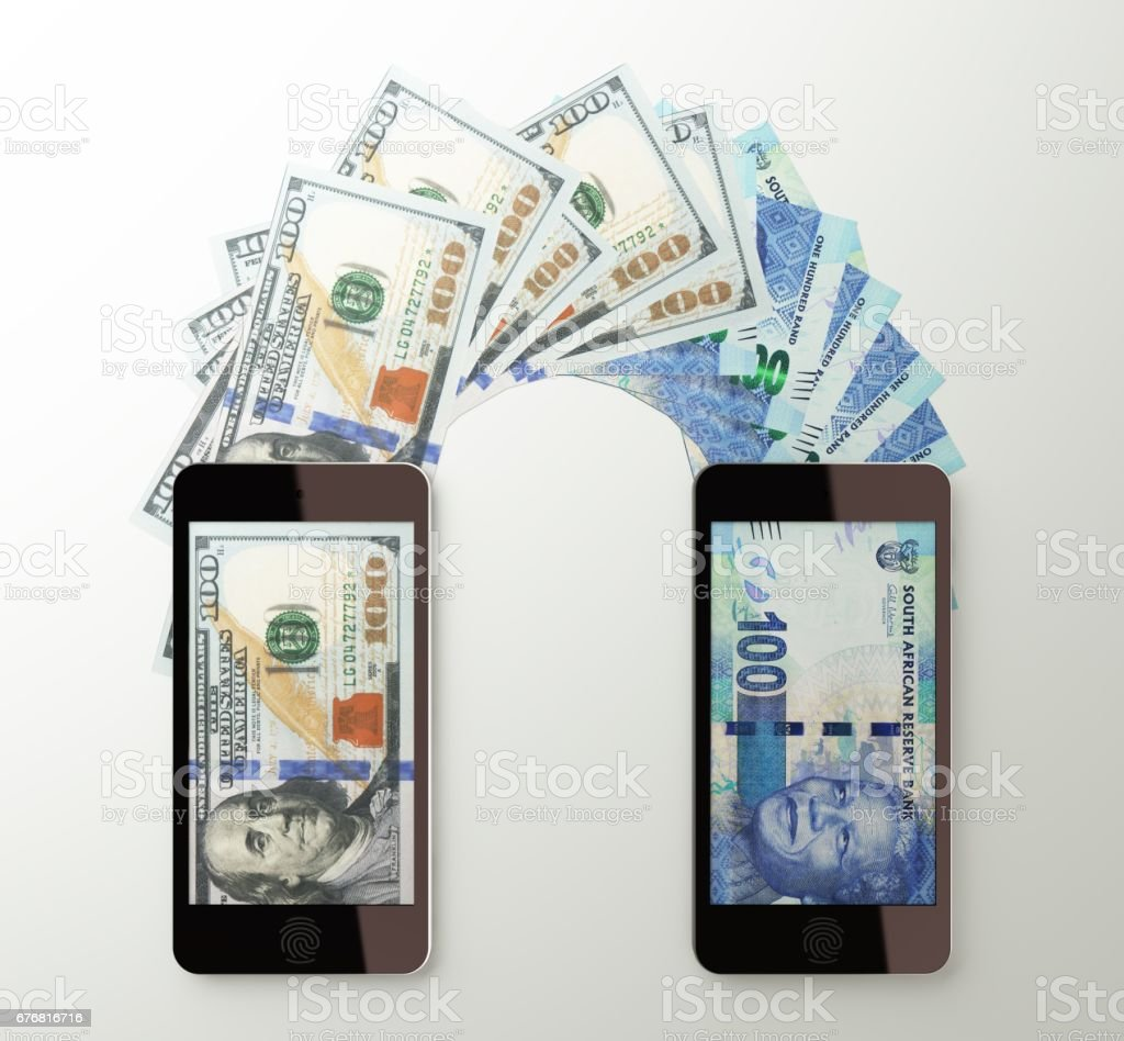 International mobile money transfer, Dollar to South African rand stock photo