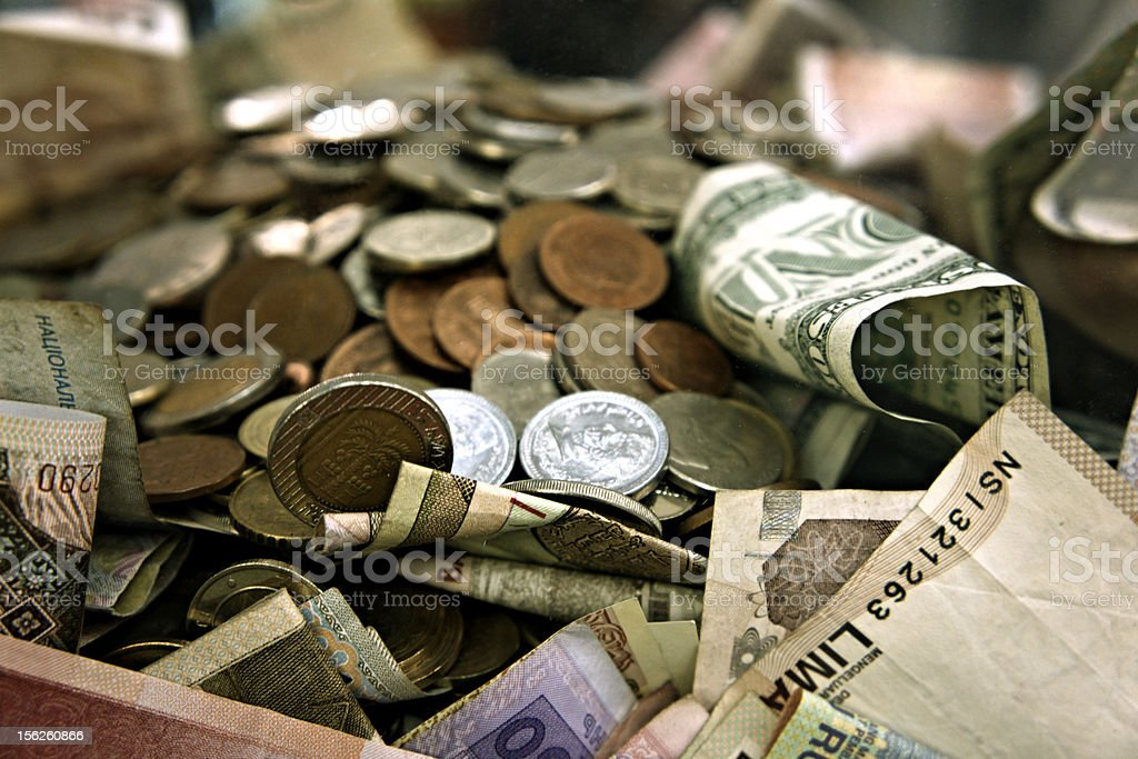 International Money in Big Cash and Forex Coins royalty-free stock photo