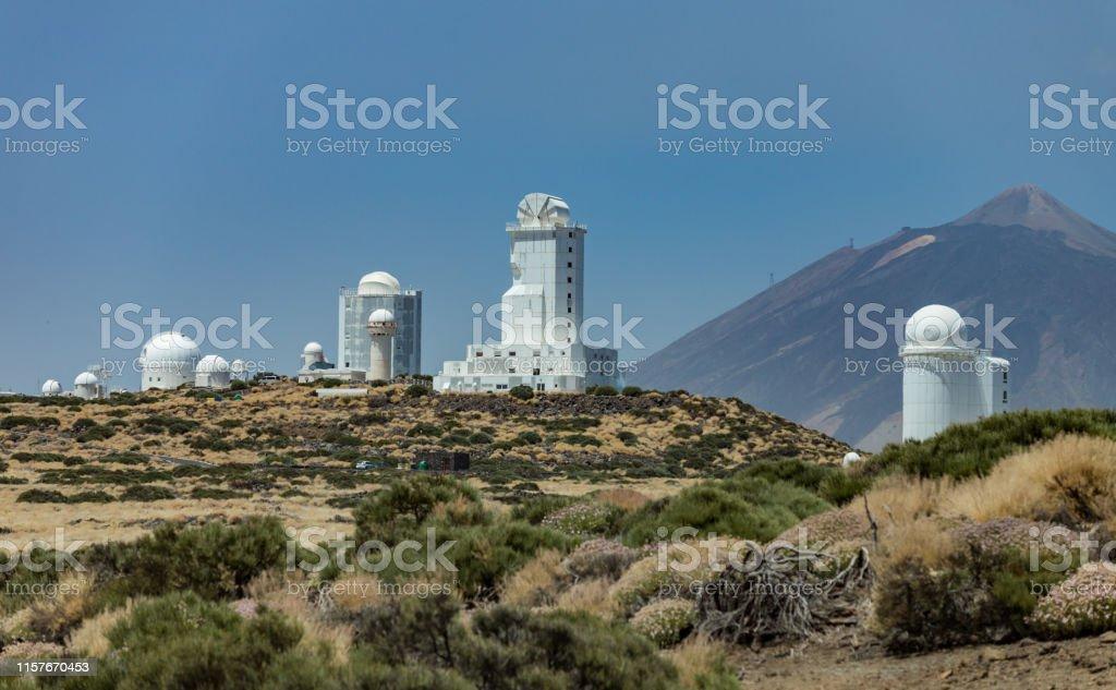 International observatory in Teide National Park. Volcano Teide on...