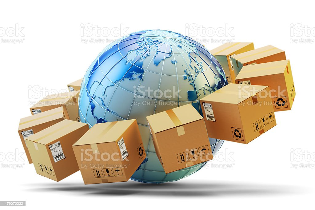International package delivery concept stock photo