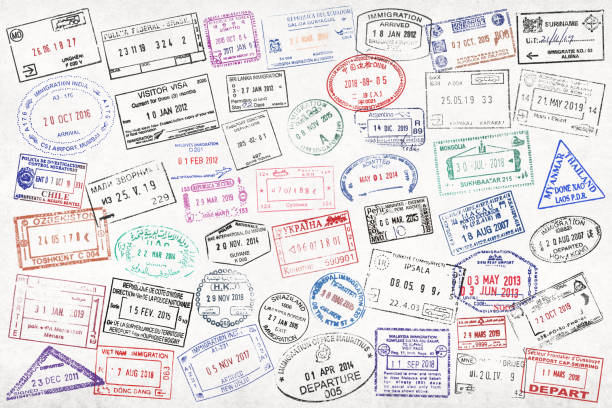 International passport stamps stock photo