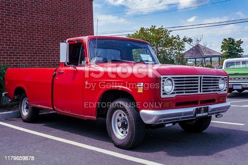 Windsor, Nova Scotia, Canada - August 4, 2019 : 1974 International pickup truck at Avon River Days Show & Shine, Windsor waterfront.