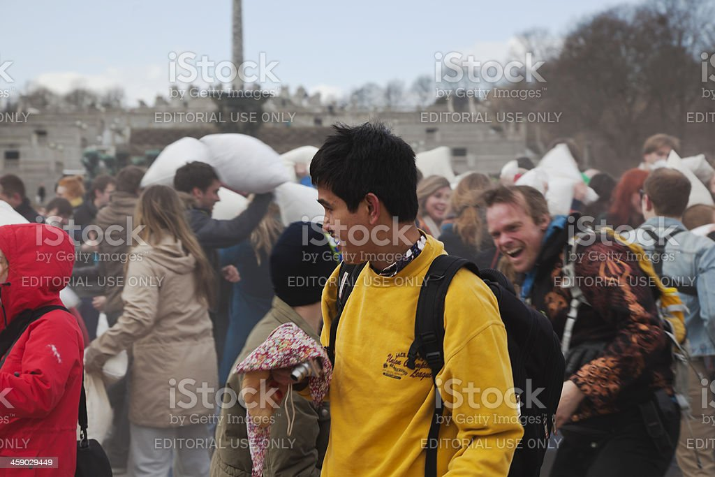 International pillow fight day royalty-free stock photo