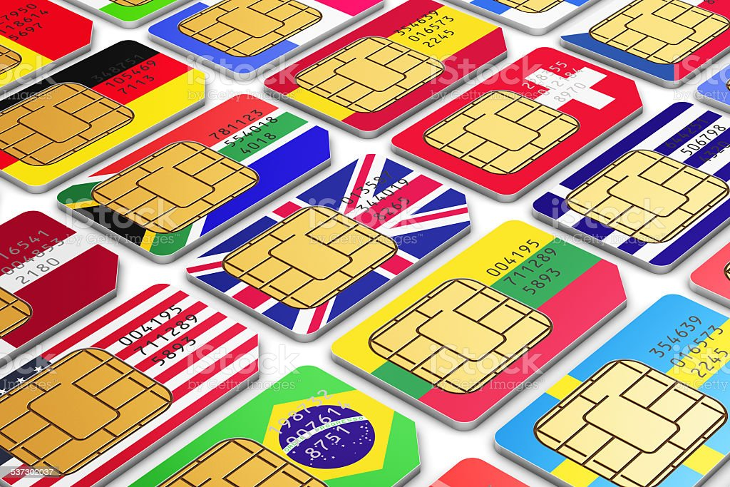 International SIM cards with flags stock photo