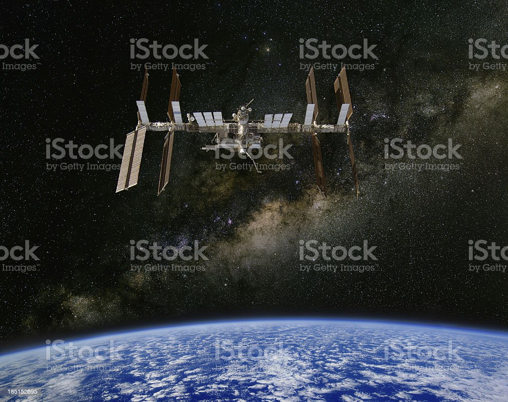 International Space Station and the Milky Way. royalty-free stock photo