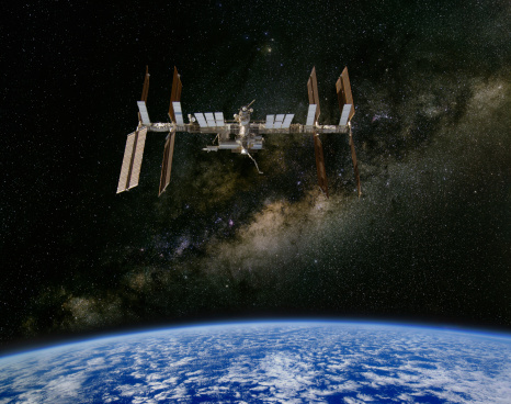International Space Station And The Milky Way Stock Photo - Download Image Now