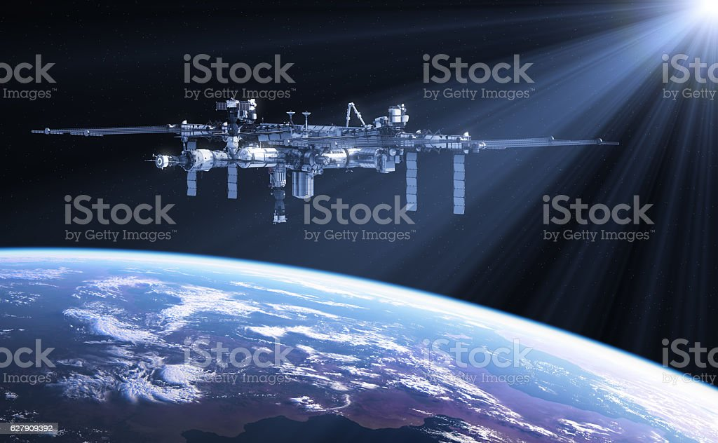 International Space Station In The Rays Of Sun stock photo