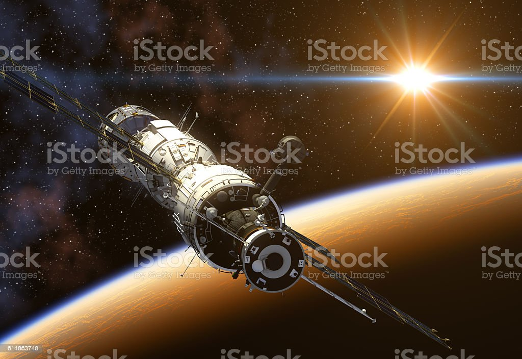 International Space Station On Background Of The Sun stock photo
