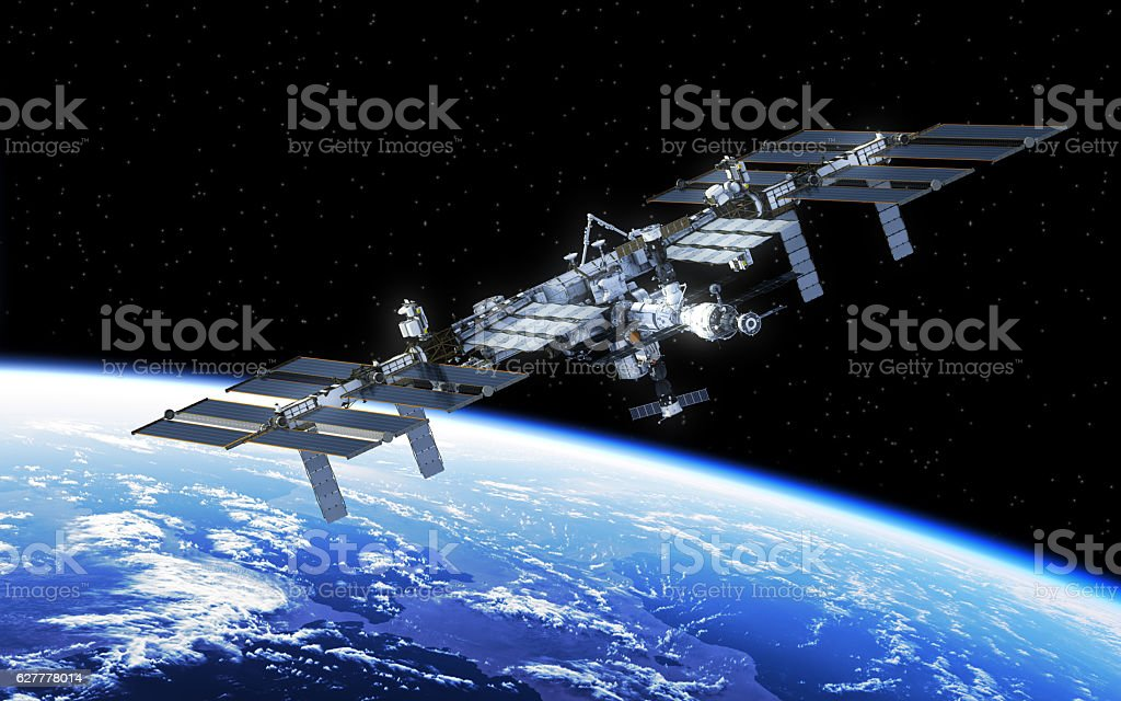 International Space Station Orbiting Earth stock photo