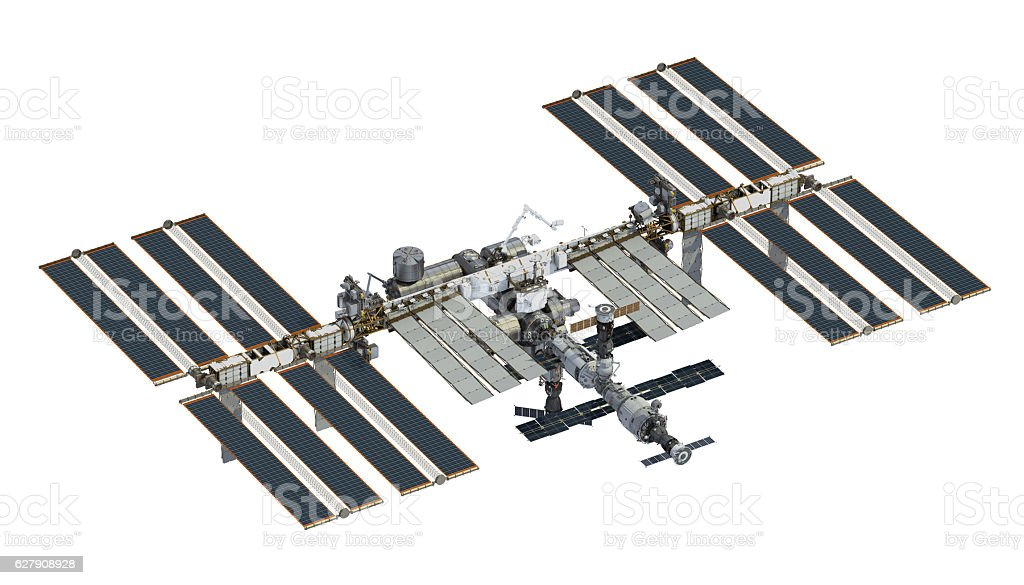 International Space Station Over White Background stock photo