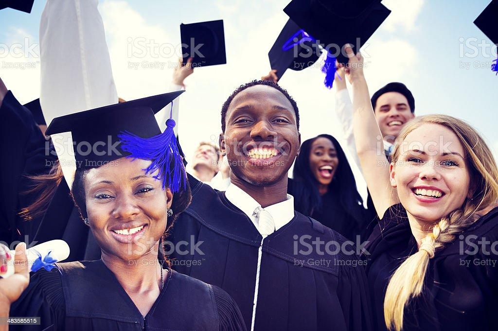 International students celebrate graduation stock photo