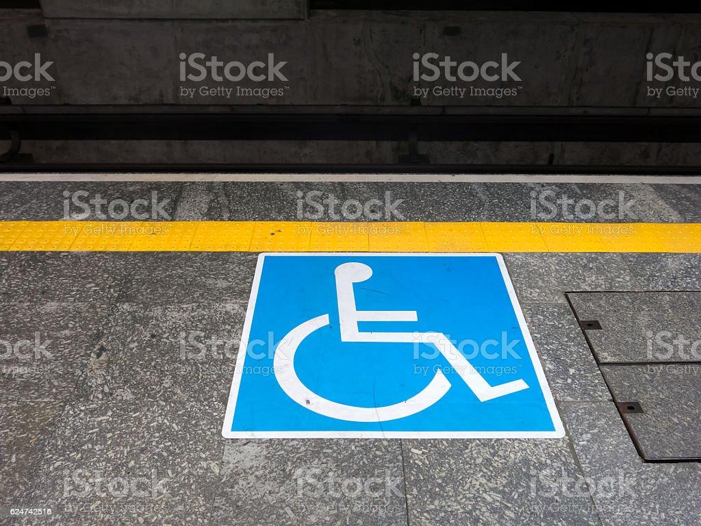 International symbol of access in brazilian subway station stock photo