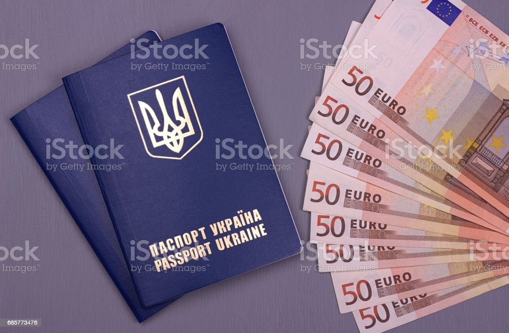 International Ukrainian passport with Euro banknotes isolated on gray background. royalty-free stock photo