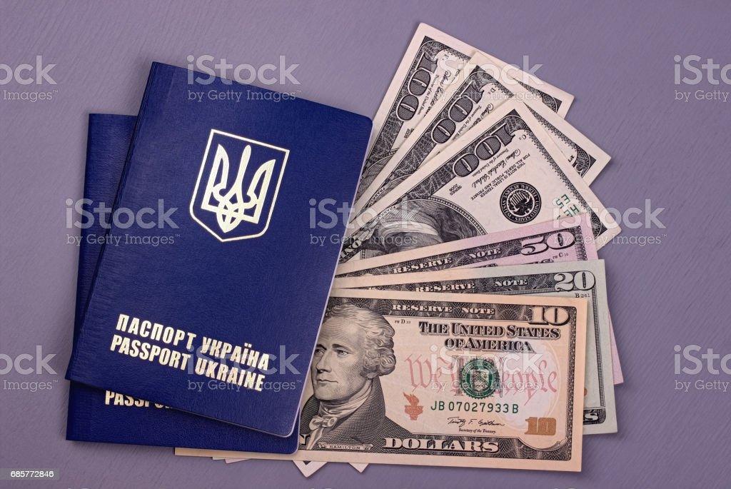 Passeport international ukrainien avec dollars américains isolés sur fond gris. photo libre de droits