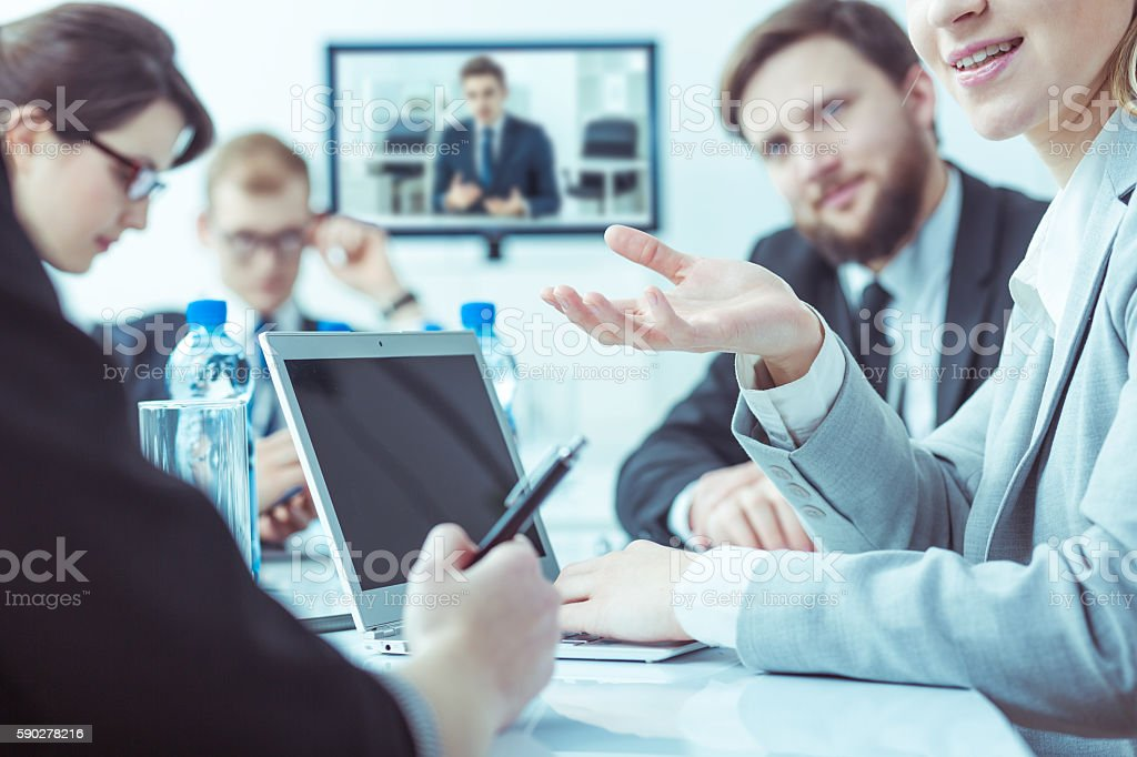 International video conference in business company stock photo