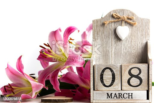 International Women's Day date card reminder with lily flowers