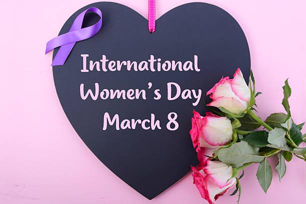 International Womens Day Notice Board Greeting. stock photo