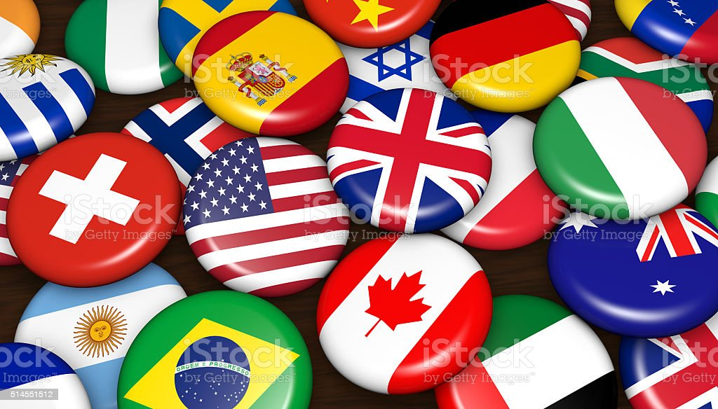 International World Flags Badges stock photo