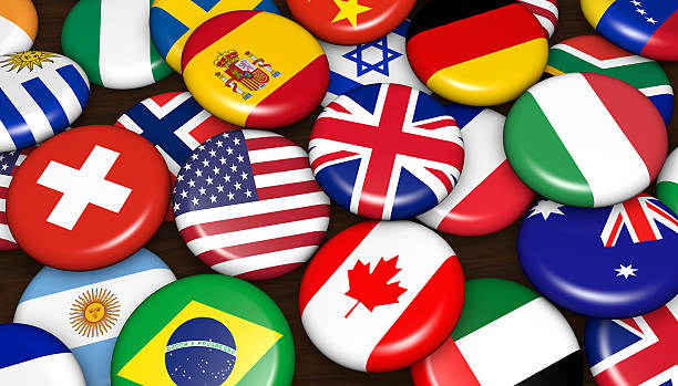 International World Flags Badges International business concept with world flags on scattered buttons badges background 3d illustration. national flag stock pictures, royalty-free photos & images