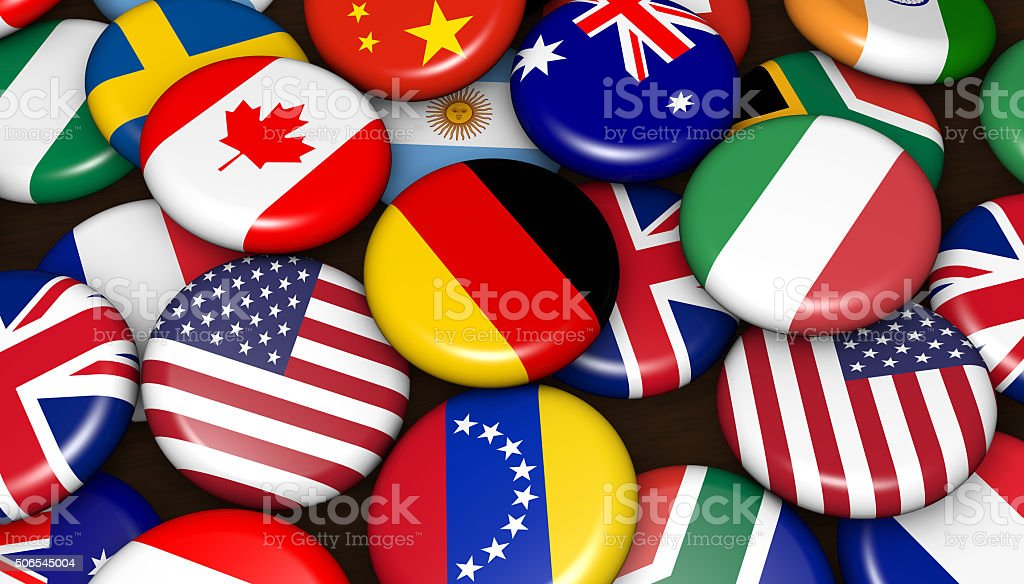International World Flags On Badges stock photo
