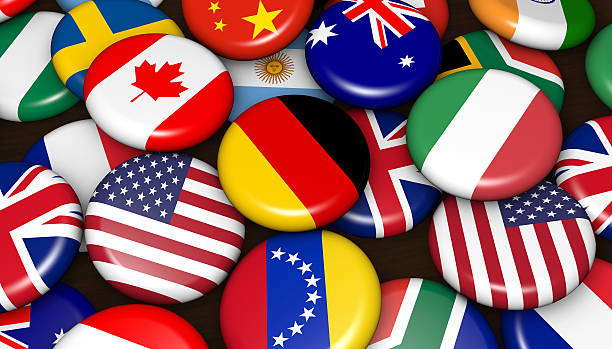 International World Flags On Badges International world flags on scattered buttons badges 3d illustration. national flag stock pictures, royalty-free photos & images