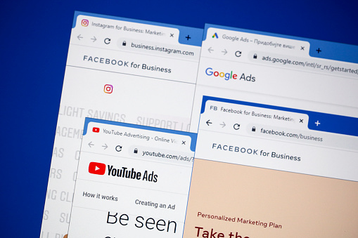 Websites (marketing and advertisment homepages) of most popular websites in the world - Facebook, Google, YouTube and Instagram on a computer screen.