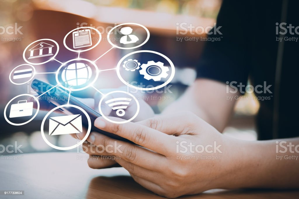 Internet and connection line concept, businessman use phone with digital icon and wifi, shopping network online stock photo