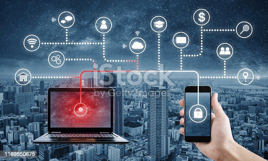 istock Internet and online data security system. Laptop computer hacking, and stealing data from mobile smart phone 1169550675