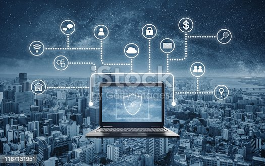 istock Internet and online network and cyber data security system technology 1167131951