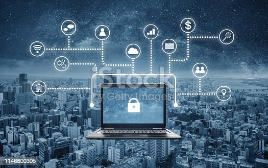 istock Internet and online network security system. Laptop computer with lock icon on screen and application programming interface icons 1146800305