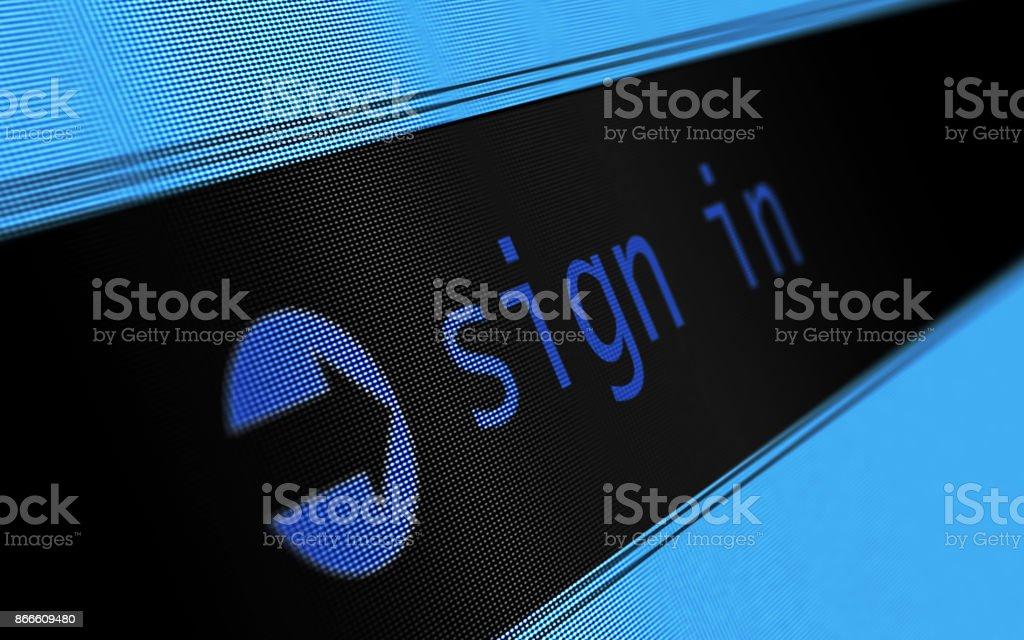 Internet e assinar on-line em conceito na tela Digital - foto de acervo