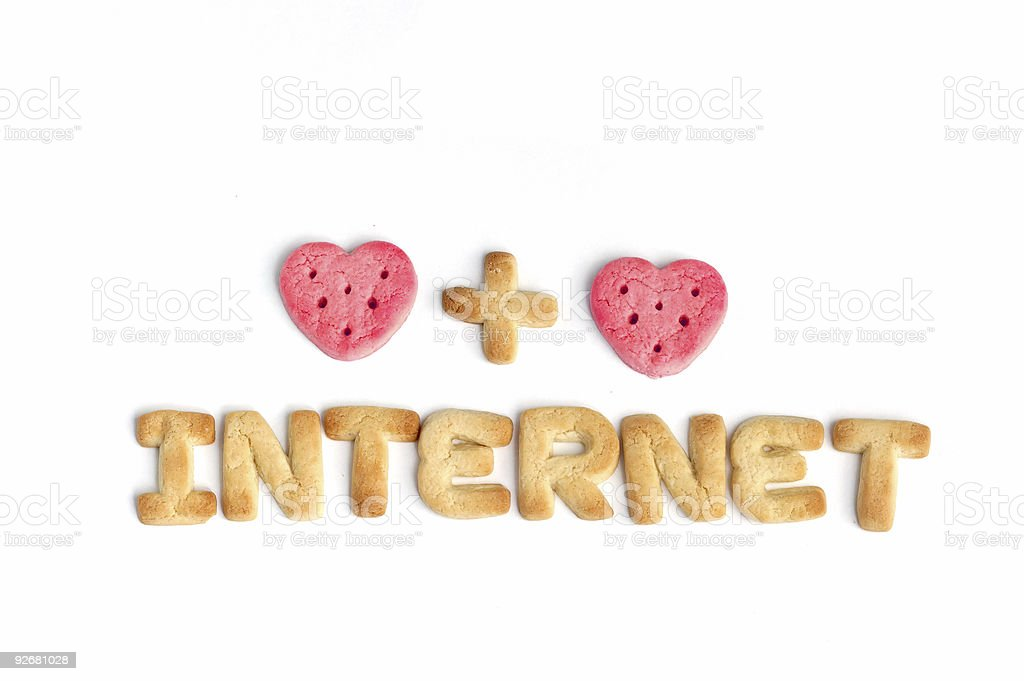 Internet and two hearts royalty-free stock photo