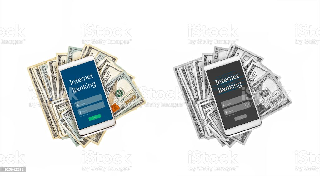 Internet Banking, Online Payment Technology, Concept, Finance, Banking, White smartphone, cashless settlement, dollar bills, Isolated on white. stock photo